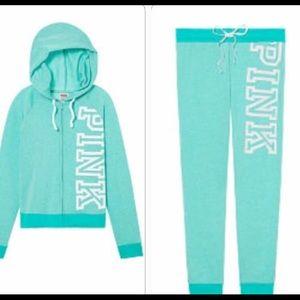 VS PINK Teal Aqua 2pc Jogger Sweat Pants Tracksuit